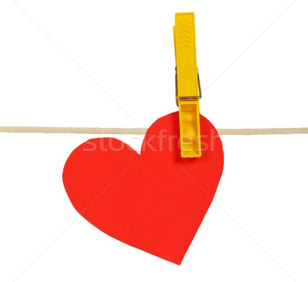 Kırmızı kâğıt kalpler halat clothespin yalıtılmış Stok fotoğraf © GeniusKp