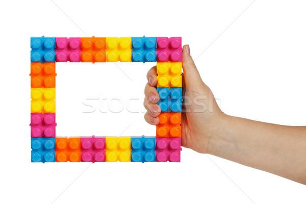 çerçeve renkli inşaat oyuncak kadın el Stok fotoğraf © GeniusKp