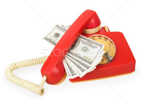Rood telefoon dollar geïsoleerd witte business Stockfoto © GeniusKp