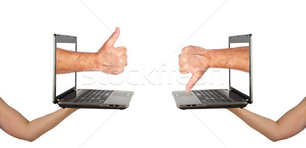 Thumbs up and down with notebook screens  Stock photo © GeniusKp