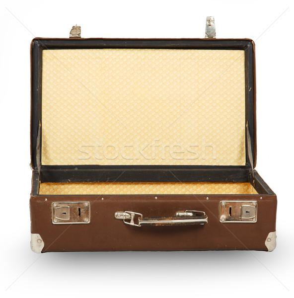 Açmak eski bavul yalıtılmış beyaz arka plan Stok fotoğraf © GeniusKp