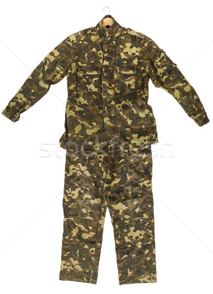 Camouflage jas pants geïsoleerd witte mode Stockfoto © GeniusKp