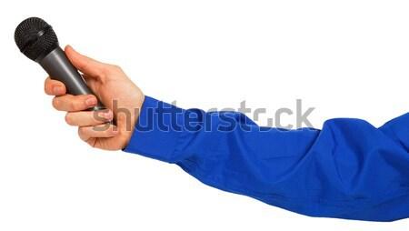 Mano blu strisce shirt microfono Foto d'archivio © GeniusKp