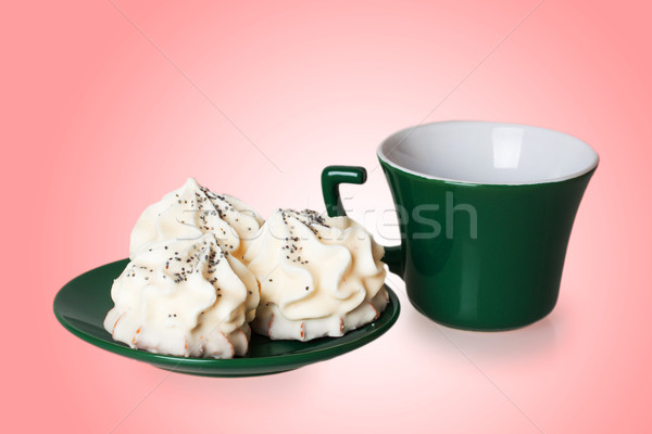Gâteaux vert soucoupe tasse blanche sucre Photo stock © GeniusKp