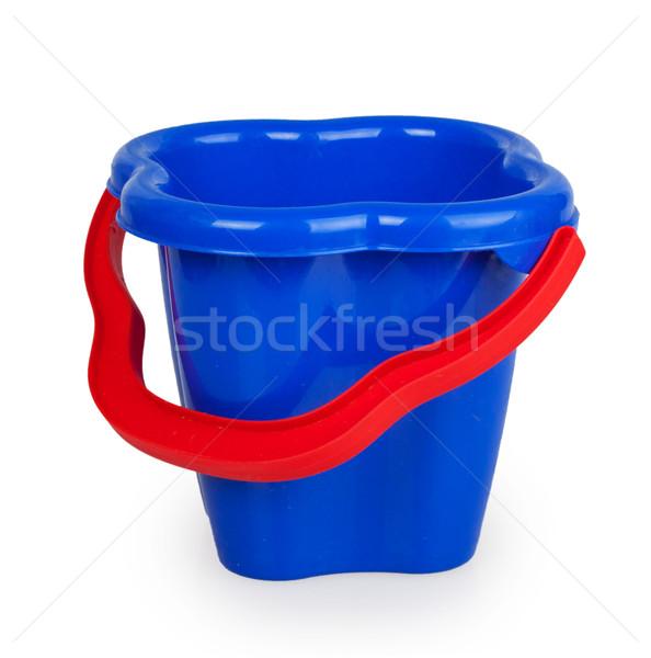 Baby niebieski plastikowe wiadro czerwony uchwyt Zdjęcia stock © GeniusKp
