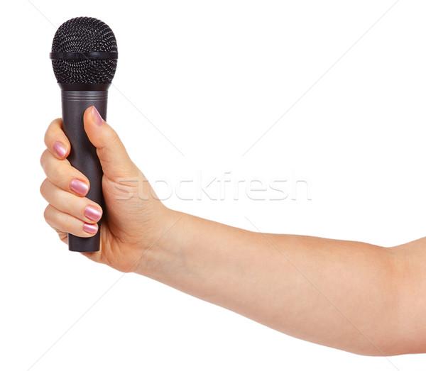 Foto stock: Feminino · mão · microfone · isolado · branco