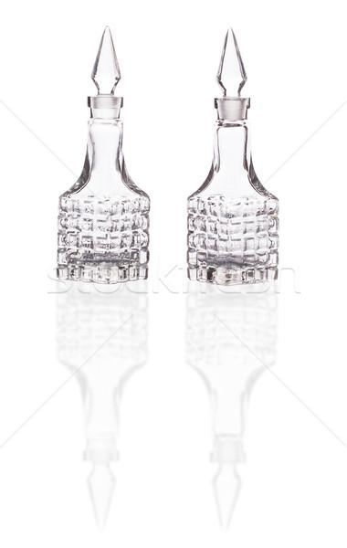 Twee lege glas reflectie geïsoleerd witte Stockfoto © GeniusKp
