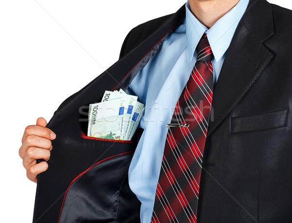 Euro binnenkant zak jas geïsoleerd witte Stockfoto © GeniusKp