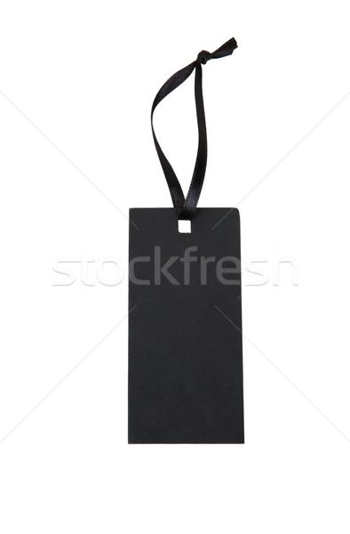 Zwarte papier tag lint geïsoleerd witte Stockfoto © GeniusKp
