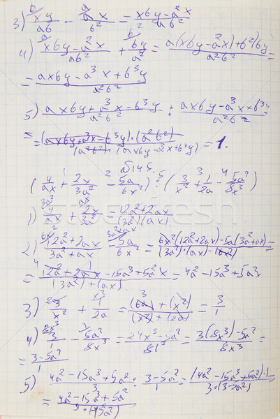 Squared paper with mathematical formulas Stock photo © GeniusKp