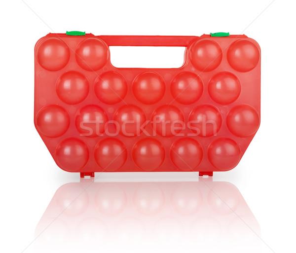 Vermelho plástico caso ovos isolado branco Foto stock © GeniusKp
