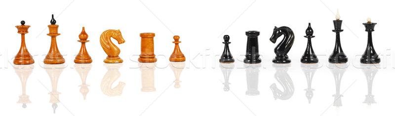 Witte zwarte schaken geïsoleerd business sport Stockfoto © GeniusKp