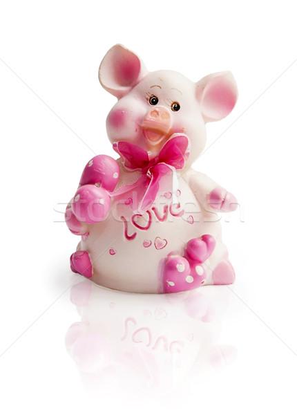 Roze varken geïsoleerd witte gelukkig hart Stockfoto © GeniusKp