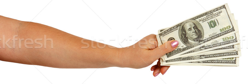 Feminino mão dólares isolado branco Foto stock © GeniusKp