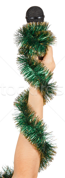 Feminino mão verde grinalda microfone Foto stock © GeniusKp