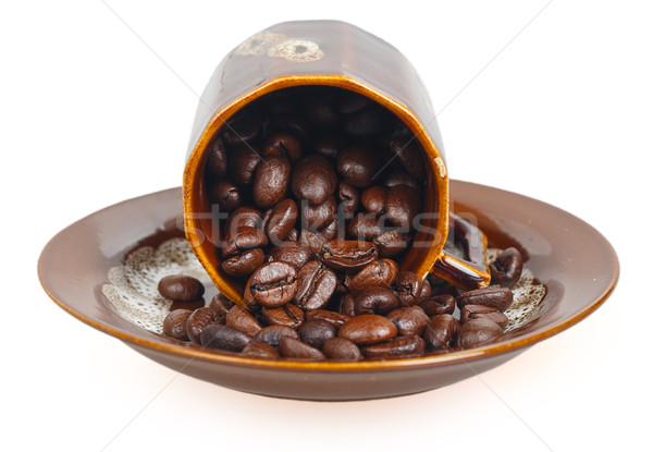 Feijões copo isolado branco textura café Foto stock © GeniusKp