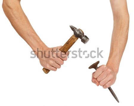 Old ax in female hands Stock photo © GeniusKp