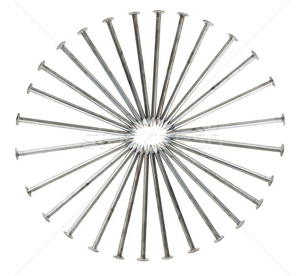 Cirkel lang zilver nagels geïsoleerd witte Stockfoto © GeniusKp