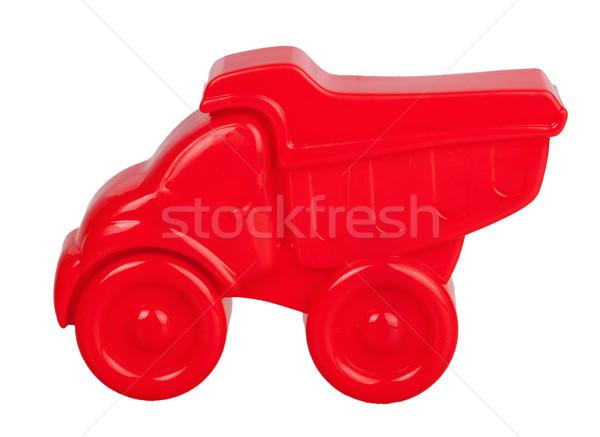 Rood plastic zand geïsoleerd witte auto Stockfoto © GeniusKp