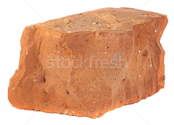 Eski kırmızı tuğla yalıtılmış beyaz taş Stok fotoğraf © GeniusKp