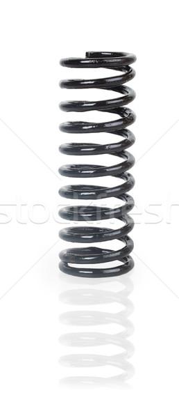 Zwarte metaal voorjaar geïsoleerd witte springen Stockfoto © GeniusKp
