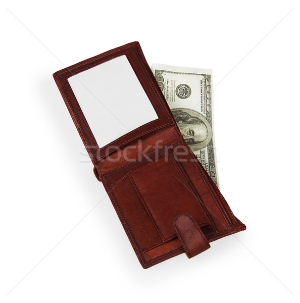 100 dollars banknote in open brown leather purse  Stock photo © GeniusKp