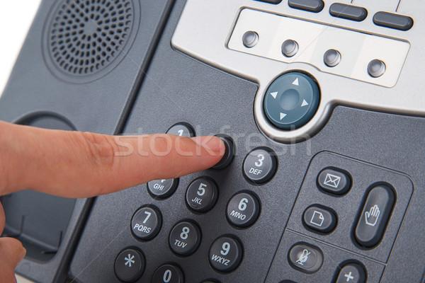 Ofis siyah telefon el yalıtılmış beyaz Stok fotoğraf © GeniusKp