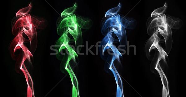 Kleurrijk rook wolken ingesteld zwarte textuur Stockfoto © GeniusKp