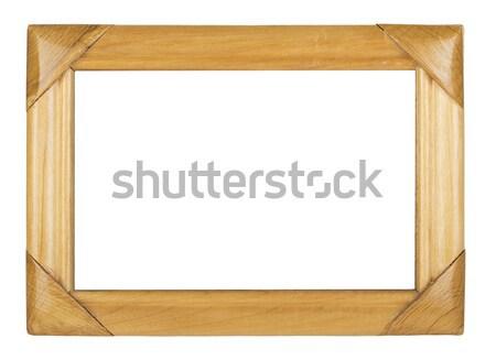 Stock fotó: Fából · készült · képkeret · izolált · fehér · textúra · háttér