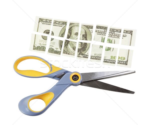 scissors cut a hundred dollar bill into many parts Stock photo © GeniusKp