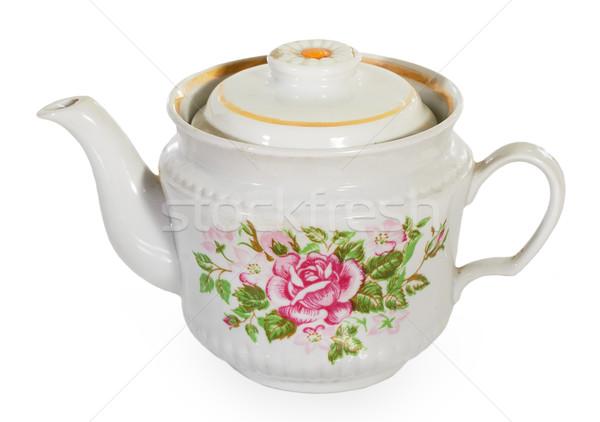 Tetera aislado blanco flores cocina beber Foto stock © GeniusKp