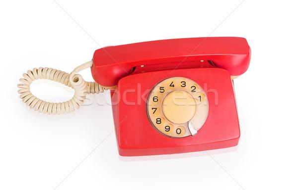Rood telefoon geïsoleerd witte business achtergrond Stockfoto © GeniusKp