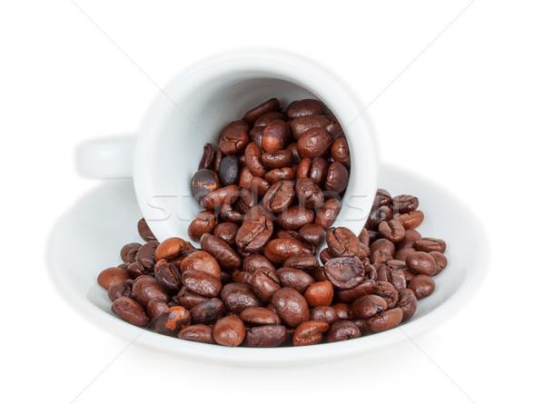 Beker koffiebonen geïsoleerd witte drinken cafe Stockfoto © GeniusKp