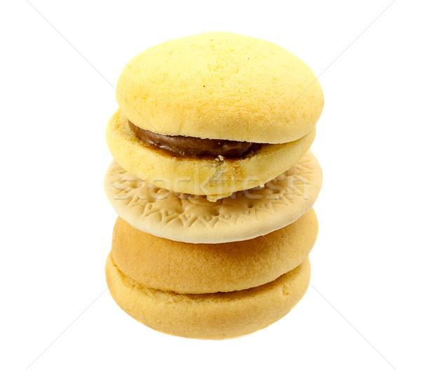 Kule kurabiye yalıtılmış beyaz turuncu renk Stok fotoğraf © GeniusKp