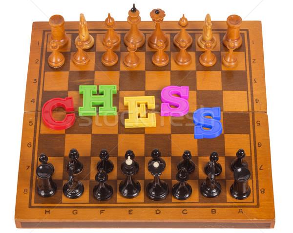 Tablero de ajedrez plástico carta aislado blanco deporte Foto stock © GeniusKp