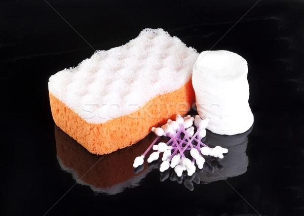 Laranja esponja branco algodão isolado Foto stock © GeniusKp
