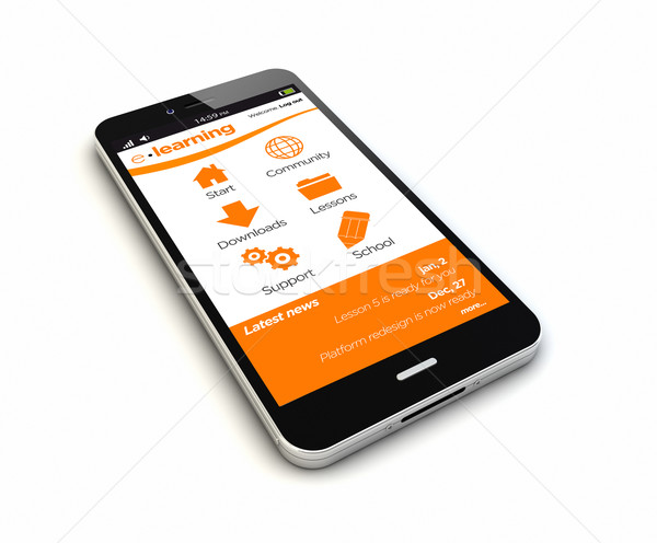 Okostelefon online oktatás render eredeti képernyő grafika Stock fotó © georgejmclittle