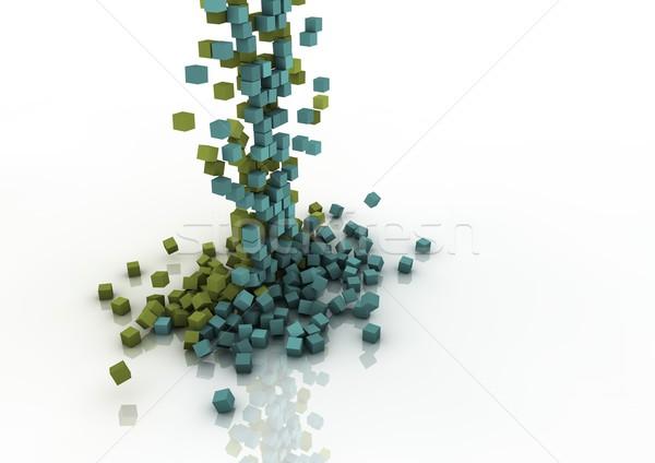 Kaskada kolorowy objętych budowy tle niebieski Zdjęcia stock © georgejmclittle