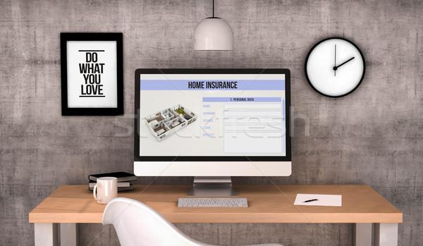 Çalışma alanı bilgisayar ev sigortası dijital oluşturulan masaüstü Stok fotoğraf © georgejmclittle