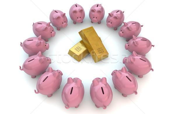 Piggybanks gold Stock photo © georgejmclittle