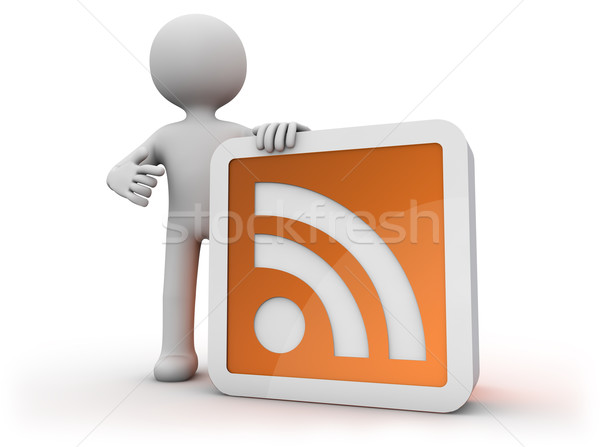 Rss icon geven man technologie vent Stockfoto © georgejmclittle