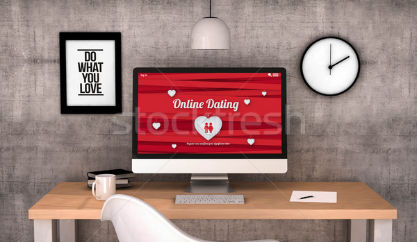 Çalışma alanı bilgisayar masaüstü çevrimiçi kalma ekran Stok fotoğraf © georgejmclittle