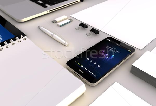 music smartphone office Stock photo © georgejmclittle