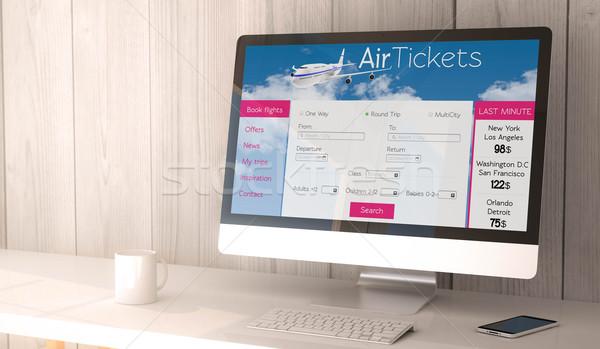 desktop computer with tickets flight web Stock photo © georgejmclittle