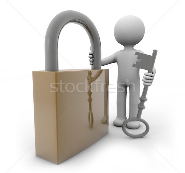 Homme cadenas clé squelette 3D Photo stock © georgejmclittle