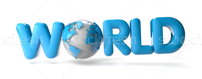 Monde texte carte bleu Afrique Photo stock © georgejmclittle