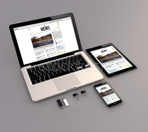 Stock fotó: Laptop · tabletta · okostelefon · hírek · háló · interfész