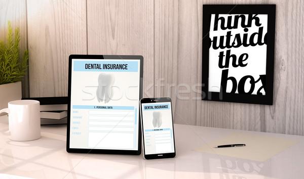 desktop tablet and phone dental insurance Stock photo © georgejmclittle