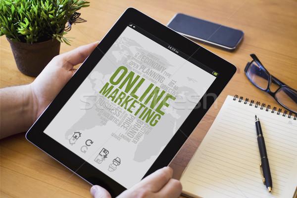 desktop tablet online marketing Stock photo © georgejmclittle