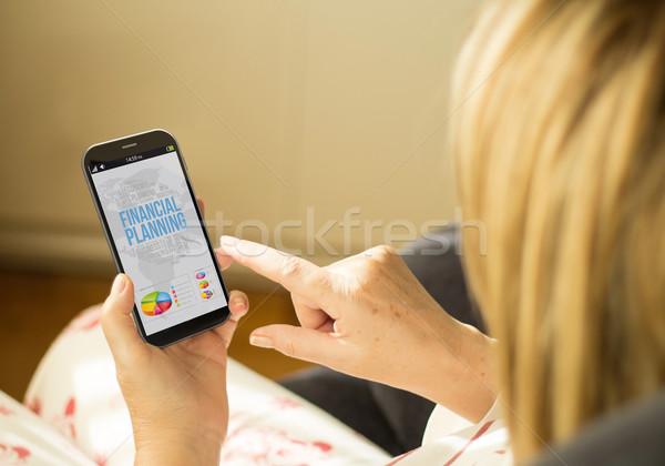 Technológia nő pénzügyi tervezés modern pénzügyek üzlet Stock fotó © georgejmclittle